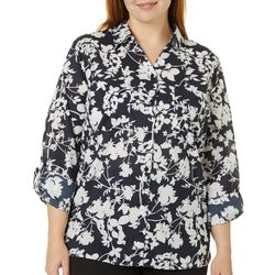 Gloria Vanderbilt Plus Cassidy Floral Button Down Top