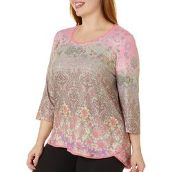 Gloria Vanderbilt Plus Laney Floral Embellished Top