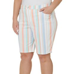 Gloria Vanderbilt Plus Misrise Striped Bermuda Shorts