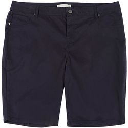 Gloria Vanderbilt Plus Sadie Solid Twill Bermuda Shorts