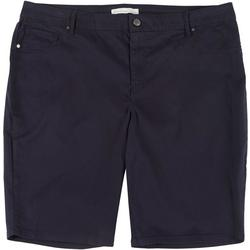 Plus Sadie Solid Twill Bermuda Shorts