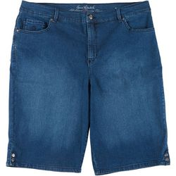 Gloria Vanderbilt Plus Amanda Button Hem Faded Shorts