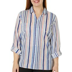 Gloria Vanderbilt Plus Cassidy Striped Button Down Top