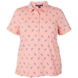 Plus Annie Flip Flop Print Polo Shirt