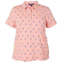 Gloria Vanderbilt Plus Annie Flip Flop Print Polo Shirt
