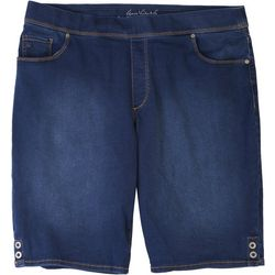Gloria Vanderbilt Plus Avery Denim Button Hem Bermuda Shorts