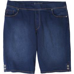 Plus Avery Denim Button Hem Bermuda Shorts