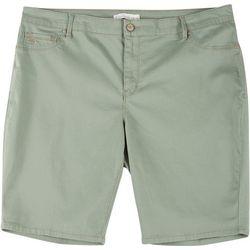 Gloria Vanderbilt Plus Sadie Solid Twill Bermuda Shorts