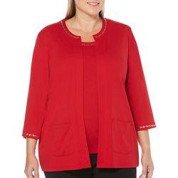 Rafaella Plus Studded Neckline Open Front Cardigan