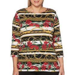 Rafaella Plus Mixed Floral Striped Chain Print Top