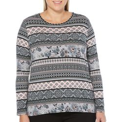 Rafaella Plus Mixed Geo Print Long Sleeve Top