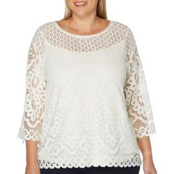 Rafaella Plus Solid Lace Boat Neck Top