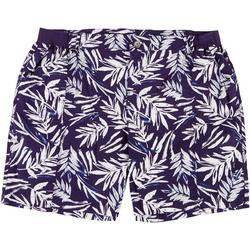 Plus Tropical Palm Leaf Print Knit Waist Shorts