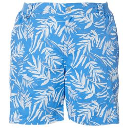 Fresh Plus Tropical Palm Leaf Print Knit Waist Shorts