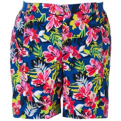 Fresh Plus Tropical Hibiscus Print Knit Waist Shorts