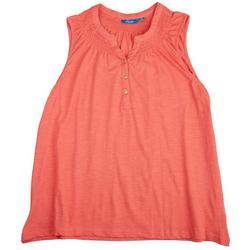 Womens Button Placket Solid Color Top