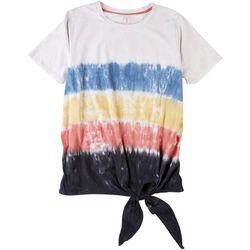 Silverwear Plus Tie Dye Stripe Tie Front Top