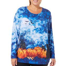 Erika Plus Halloween Cat & Pumpkin Print Top