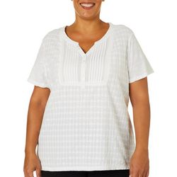 Erika Plus Harlow Embroidered Pleated Bib Front Top