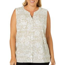 Erika Plus Saiorse Floral Button Down Sleeveless Top