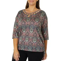 Erika Plus Jovie Ikat Embellished Burnout Top