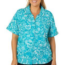 Erika Plus Hawaiian Flower Short Sleeve Button Down Top