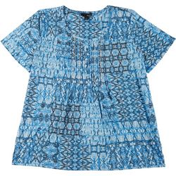 Erika Plus Reese Batik Inspired Short Sleeve Top