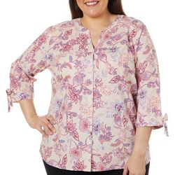 Erika Plus Gwen Floral Print Button Up Tie Sleeve Top