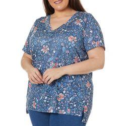 Erika Plus Arielle Floral Print Short Sleeve Top