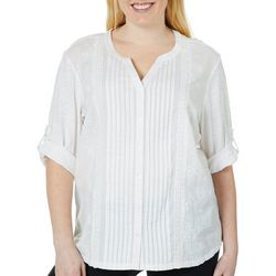 Erika Plus Embroidered Pleated Button Down Top