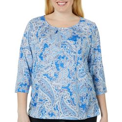 Erika Plus Embellished Floral Paisley Burnout Top