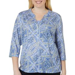 Erika Plus Luna South Western Print Burnout Top
