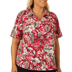Erika Plus Genevieve Tropical Floral Button Down Top
