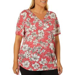 Erika Plus Emmy Burnout Tropical Flowers Print Top