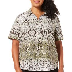 Erika Plus Genevieve Tribal Ombre Button Down Top