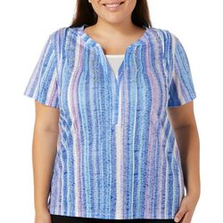 Erika Plus Jessa Embellished Stripe Print Top