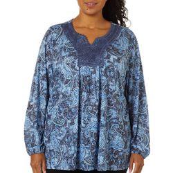 Erika Plus Teresa Embroidered Paisley Long Sleeve Top