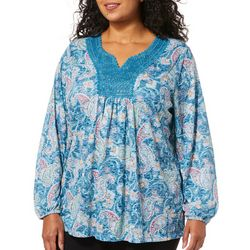 Erika Plus Teresa Embroidered Paisley Long Sleeve Top