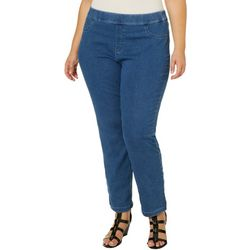 Erika Plus Joey Solid Pull On Denim Pants