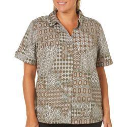 Erika Plus Marine Tribal Print Button Tab Sleeve Top