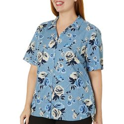 Erika Plus Hayden Floral Print Button Up Top