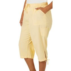 Erika Plus Carcie Solid Drawstring Pull On Capris