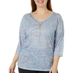 Erika Plus Millie Paisley Print V-Neck Top