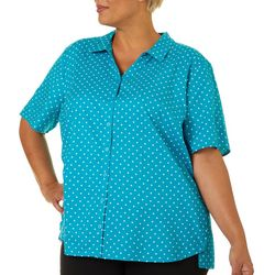 Erika Plus Hayden Polka Dot Print Button Up Top