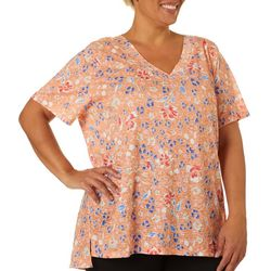 Erika Plus Arielle Floral Print Short Sleeve Top