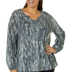 Erika Plus Lenora Burnout Long Sleeve Top
