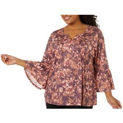 Erika Plus Jenna Pleated Floral Print Burnout Top