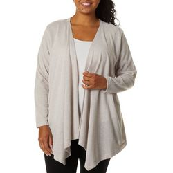 Erika Plus Solid Open Front Cardigan