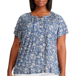 Chaps Plus Floral Peasant Slub Jersey Short Sleeve Top