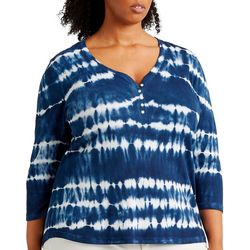Chaps Plus Tie Dye Stripe Henley Top